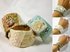 shabby chic bracelets out of plastic bottles and material