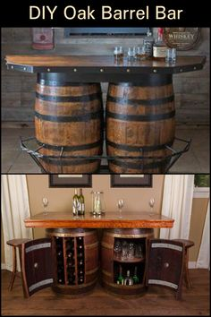 Learn how to turn an oak barrel into a bar in this step-by-step tutorial. Whiskey Barrel Bar, Wine Barrel Table, Wine Barrel Furniture, Modern Rustic Homes, Rustic Home Design, Rustic Style, Western Bar, Barrel Projects, Diy Bar