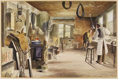 """Saddler's Workshop, 70, High Street, Croydon"" by Barbara Jones for the 'Recording Britain# project (1942):"