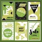 Fresh style greenery,  sale promotional web and social media templates banners for spring. Green contemporary vector illustration collection for social marking, advertising with clipping mask.