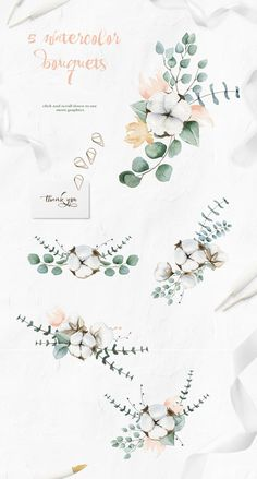 Cotton and Eucalyptus watercolor clipart collection in Illustrations on Yellow Images Creative Store Deco Floral, Motif Floral, Arte Floral, Watercolor Background, Watercolor Flowers, Watercolor Paintings, Watercolour, Summer Wedding Invitations, Wedding Summer