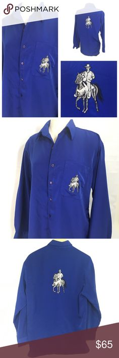 Rodeo Embroidered Blue Western Shirt Vintage Retro Royal blue western button up polyester embroidered cowboy vintage shirt.  In great preowned condition.  Selected Collection by KELIN 100% Polyester   Measurements when laying flat  23 inches from armpit to armpit 32 inches long from the collar to the bottom  Marked size medium but fits more like a large Vintage Shirts Casual Button Down Shirts