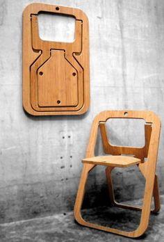 Silla plegable de madera (por Vange).