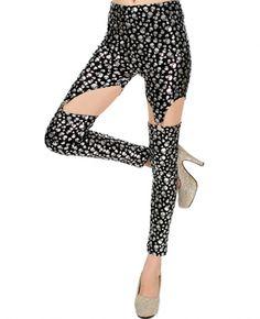 Elastic Printed Mid-rise Leggings