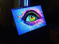 """""""Blacklight Eye"""" By Pixie Cold https://www.etsy.com/de/listing/200433637/blacklight-eye-original?langid_override=0 Its painted with blacklight paints, it glows in the dark."""