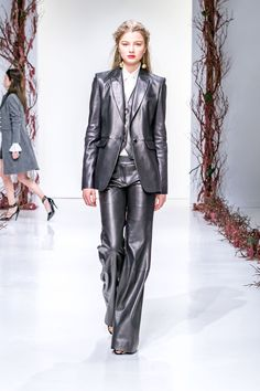 This is fantastic! Where do you wear a gunmetal leather 3 piece suit??  Rachel Zoe Fall 2016 Ready-to-Wear Fashion Show