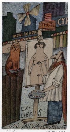 Adolf Born ~ Ex libris Cartoon Knight, Modern Art, Contemporary Art, Typography Prints, Animation Film, Graphic Design Art, Illustration Art, Artist, People Illustrations