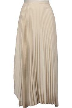 HELMUT LANG Asymmetric pleated crepe de chine maxi skirt. #helmutlang #cloth #skirt