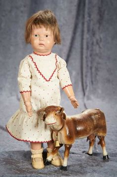 """14"""" American Carved Wooden Toddler by Schoenhut with Toy Schoenhut Cow 400/600 Auctions Online 