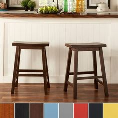 This saddle back Counter Height Stool Set  makes a charming addition to your breakfast bar or entertainment area, instantly offering more seating for your family or guests. Each hand distressed stool features beautiful solid Asian rubber wood construction with a cherry wood finish that adds a warm and inviting look. This 24-inch stool set stands at standard counter height, ideal for family members of all ages.