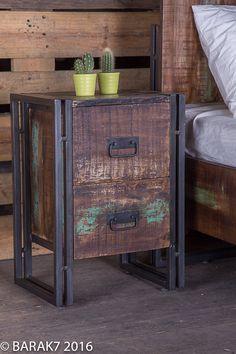 Table de chevet industrielle en bois de B.A.R.A.K.'7, Tous nos meubles industriels : Barak7
