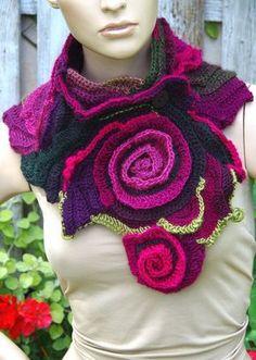 Crochet Scarf Freeform crochet Roses Button Womens scarf by Degra2
