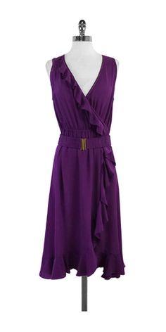 Rebecca Taylor Purple Silk Ruffly Sleeveless Dress
