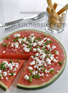A Refreshing Summer snack. Watermelon Pizza {Watermelon Slice with Feta and Chopped Basil} Interesting...