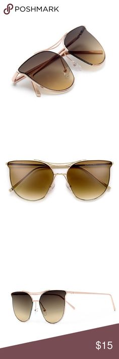 GoldGetter Trendy Sunglasses Faves! 😍😍✨👑  * 100% UVA / UVB Protection * Designer Inspired  * Exquisitely Constructed High Fashion Frame  * High Quality Nickel Finish Metal  * Adjustable Silicone Nose Pads  * Microfiber Bag Included 58mm(W) 50mm(H) 18mm(BR) 140mm Total Frame Not listed brand Quay Australia Accessories Sunglasses