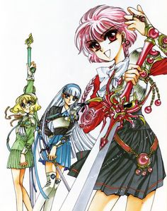 CLAMP, Magic Knight Rayearth, Magic Knight Rayearth Illustrations Collection, Umi Ryuzaki, Hikaru Shidou
