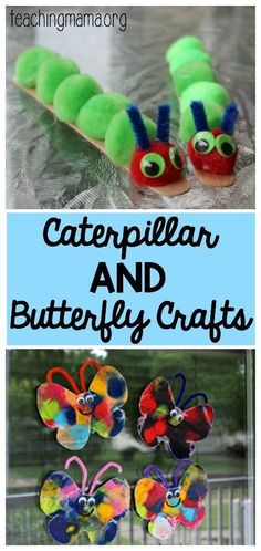 and Butterfly Crafts - awesome crafts to go with the book The Very Hungry Caterpillar.Caterpillar and Butterfly Crafts - awesome crafts to go with the book The Very Hungry Caterpillar. Insect Crafts, Bug Crafts, Daycare Crafts, Toddler Crafts, Preschool Crafts, Crafts For Kids, Arts And Crafts, Art Projects For Toddlers, April Preschool