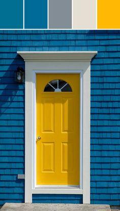 Great Yellow Front Door Designed By Lisa Perrone | Stylyze Creative Director Via  Stylyze