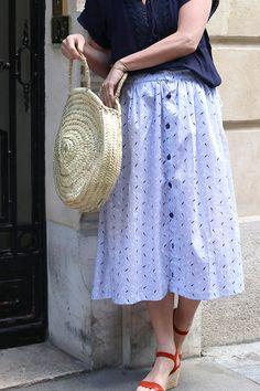 DIY mode : coudre une jupe midi boutonnée sans patron - Marie Claire