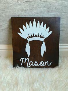 Custom Tribal Headdress Name Sign 11x12   by NorthGeorgiaWoodwork
