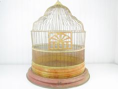 Vintage birdcage,shabby chic,metal birdcage,Hendrix cage,home decor, birdhouse,wedding decor, cottage decor, wire birdcage,antique,rust,red, by KarensChicNShabby on Etsy