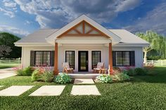 Plan No.580988 House Plans by WestHomePlanners.com Country Modern Home, Country Style Homes, Architectural Design House Plans, Architecture Design, 1200 Sq Ft House, Affordable House Plans, Small Bungalow, Garage Floor Plans, Compact House