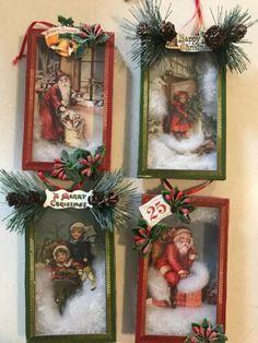 Bethany Lowe Vintage Christmas Shadow Box Ornaments—Set of Christmas Angel Crafts, Vintage Christmas Ornaments, Retro Christmas, Christmas Art, Christmas Projects, Holiday Crafts, Christmas Holidays, Christmas Decorations, Christmas Vignette