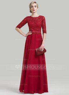 A-Line/Princess Scoop Neck Floor-Length Beading Sequins Zipper Up Sleeves 1/2 Sleeves No 2016 Burgundy General Plus Mother of the Bride Dress