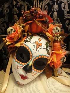 Fall Harvest Mask - Day of the Dead Bat and Heart Pumpkin Feathers Skeleton sugar Skull Bones Dia De los Muertos Calavera mask. via Etsy.