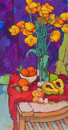 A recent Tulip painting. I enjoyed really pushing the colors of the tulips against the rich purple background. Kept this one a little looser...
