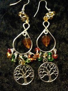 Autumn/Mabon Chandelier Earrings by CraftyOlBats on Etsy