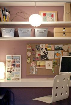 Closet Office--like the idea of having a light fixture hanging down