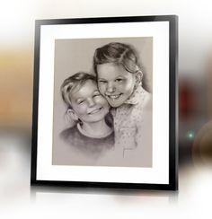 Custom sisters family handmade portrait from photo by Jacek Jaśkowiak PortraitsBuy