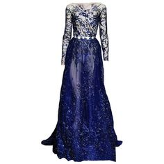Zuhair Murad Couture ❤ liked on Polyvore featuring dresses, gowns, long dress, blue gown, couture evening dresses, couture gowns, blue color dress and blue dress