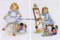 095 CUTE KIDS swap playing cards MINT COND little girl with dolls & golliwog