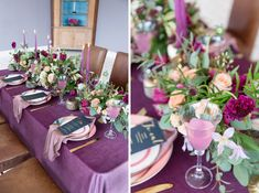Wildly Opulent: A Romantic Shoot at Bridwell - McKenzie-Brown Photography Purple Table, Table Plans, Wedding Table, Floral Design, Wedding Planning, Wedding Inspiration, Romantic, Table Decorations, Bridal