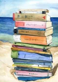 Summer reading at the beach. This would be a great poster to frame and hang in my beach house, the house that I can only dream of having. Hey, I am on my way, I have a picture picked out already. -kjk: