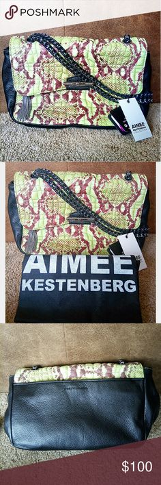 NWT Aimee Kestenberg Designer Luxury Handbag Brown and lime green cobra snake reptile print shoulder bag by Aimee Kestenberg luxury handbags collection with black trim and silver hardware. Authentic and genuine leather. Has dustbag!   Leather wrapped chain handle, silver tassle hangs off main compartment zipper. Cream lining. One zipper compartment inside main bag, two smaller unzipped pouches on opposite side. Front and back pouch on outside of main compartment, one on back being secured…
