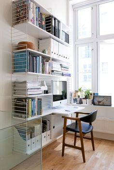 21 Best DIY Computer Desk Ideas for Home Office Inspiration Office Shelf, Office Storage, Home Organization, Office Shelving, Home Office Space, Home Office Design, String Regal, String Shelf, Room Deco
