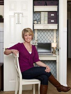 This coat closet turned office is fabulous! via Seemann @ Love of Family & Home