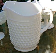 Fenton White Milk Glass Hobnail Pitcher