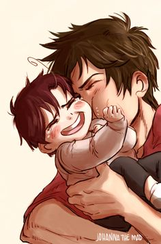 Antonio and little Lovino - Art by johannathemad.tumblr.com OMG! I might just die of cute! X3 I CAN'T TAKE IT!