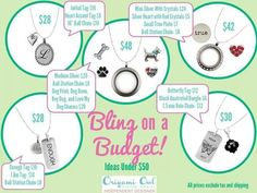 Origami Owl has something for every budget. Contact me to order yours!  lovelylockets@twc.com  http://www.facebook.com/origamiowlbyshannonmiller shannonmiller.origamiowl.com