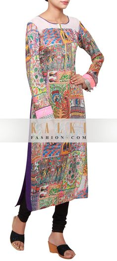 Buy Online from the link below. We ship worldwide (Free Shipping over US$100) http://www.kalkifashion.com/multi-coloured-kurti-in-crepe-embellished-in-print-only-on-kalki.html
