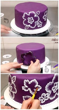 DIY Lace Icing Brush Embroidery Cake Decorating Tutorial Video DIY Brush Embroidery Cake Icing - Video - DIY Brush Embroidery Cake Icing with Cookie Cutter, Free Hand or Wax Paper. how tomake the perfect royal icing with brush embroidery techniques. Cake Decorating Designs, Birthday Cake Decorating, Cake Decorating Techniques, Cake Decorating Tutorials, Cookie Decorating, Cake Icing Techniques, Decorating Hacks, Creative Cake Decorating, Piping Techniques