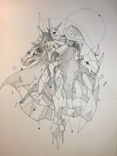 Last piece in the Geometric Digimon series, Omegamon (inspired by Kerby Rosane's Geometric beasts series) Geometric Omegamon Tattoo Design Drawings, Art Drawings, Digimon Tattoo, Madara Susanoo, Digimon Tamers, Digimon Digital Monsters, Digimon Adventure Tri, Geometric Drawing, Artist Sketchbook