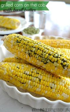 cook-out guests will adore this simple, grilled corn-on-the-cob that's generously slathered with an herby homemade basil butter. Grilled Fruit, Grilled Vegetables, Grilled Meat, Grilling Recipes, Cooking Recipes, Grilling Tips, Cooking Rice, Cooking Turkey, How To Cook Beef