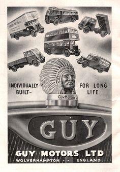 1947 Guy Motors of Wolverhampton, Individually built bus advert Wolverhampton, Birmingham, Old Lorries, Old Commercials, Automobile, Classic Trucks, Classic Cars, Car Advertising, Vintage Trucks