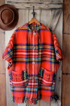 Red Plaid // Tartan Wool // Sweater Poncho // by WoodenTower, $64.00