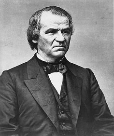 Andrew Johnson, 17th president of the United States 1865-1869  After the election, and Lincoln's assassination, vice-president Johnson was sworn into the presidency. Johnson was the first president to have been impeached, after he, as a democrat, refused to implement rights for former slaves.